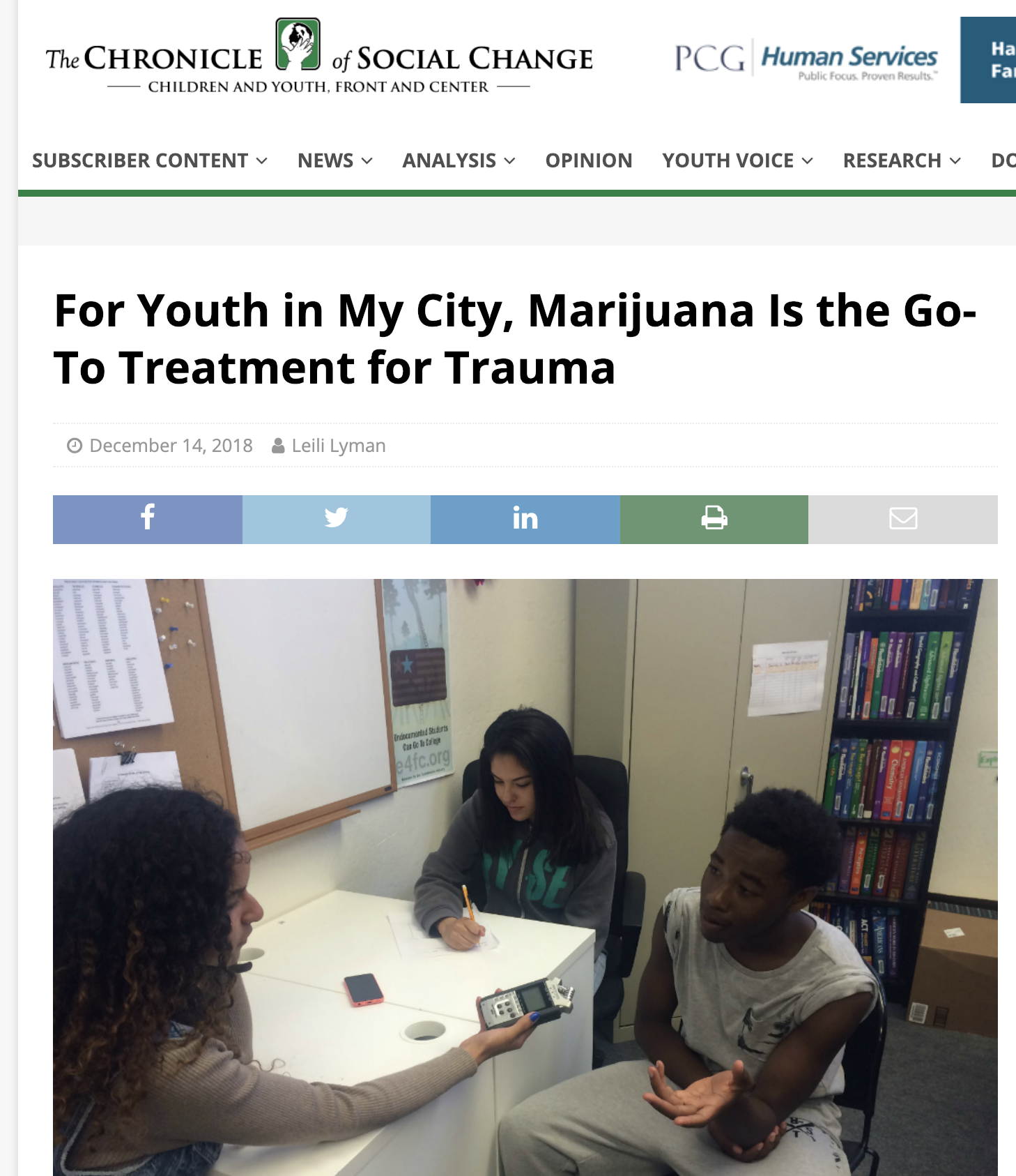 """For Youth in My City, Marijuana Is the Go-To Treatment for Trauma"" A new article by Leili Lyman"