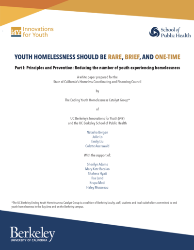 Reducing the number of youth experiencing homelessness  (2019)
